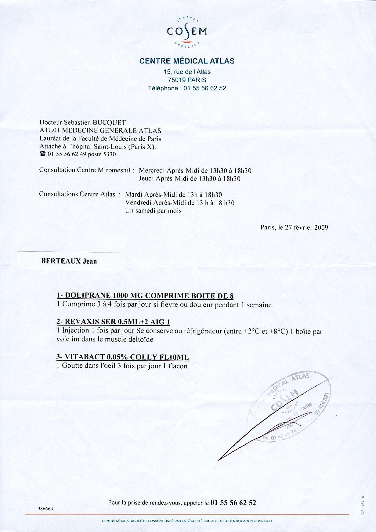 Telecharger ordonnance medical
