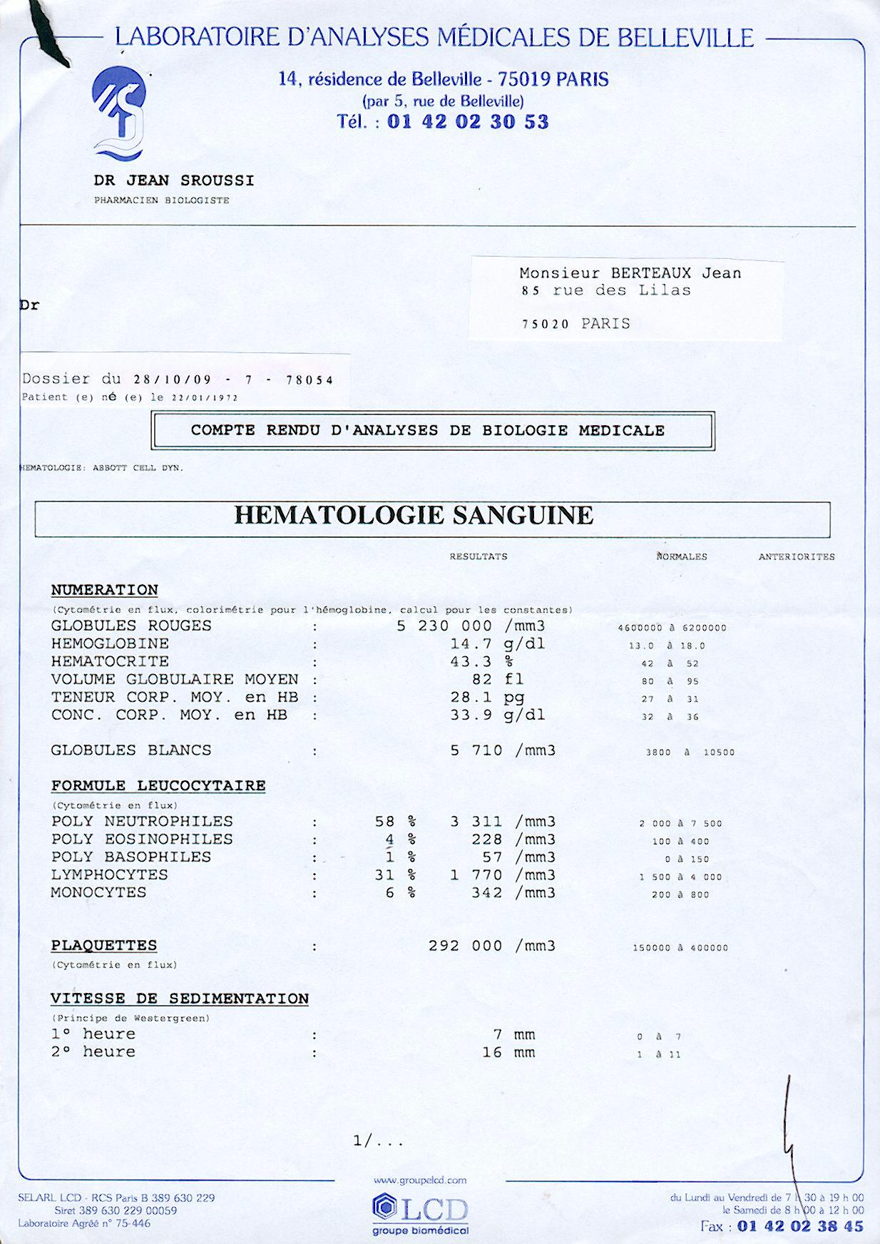 R sultat analyse laboratoire for Laboratoire d analyse salon de provence